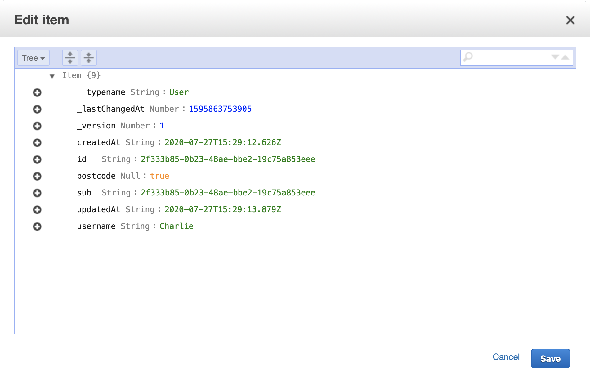 Viewing the User record for the second user