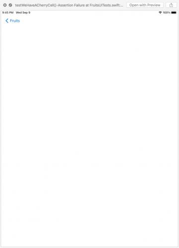 Screenshot of failed tests