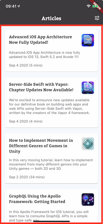 ArticleListView widget highlighted on the sample project.