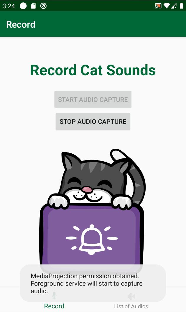 Start Audio Capture Toast