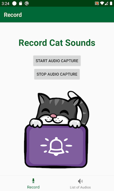 Cat Sounds home screen showing a cat in a box and options to record cat sounds
