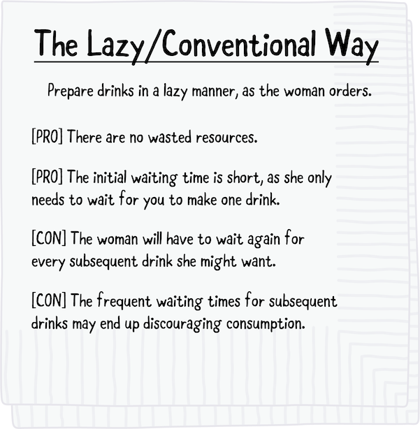 Napkin sketch of the conventional lazy way of serving drinks.