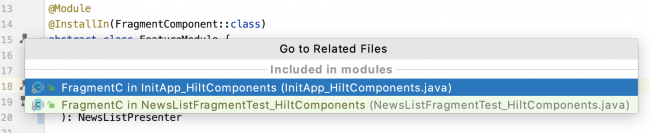 Android Studio showing module usage