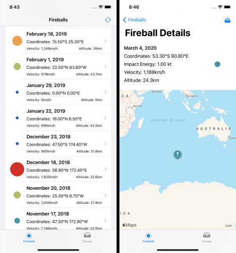 Fireball list and details screens