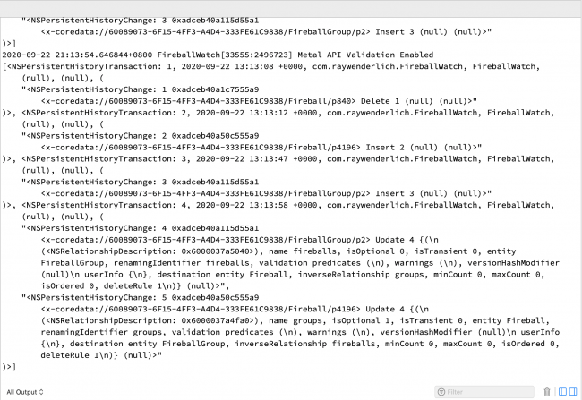 Transaction records in the Xcode console
