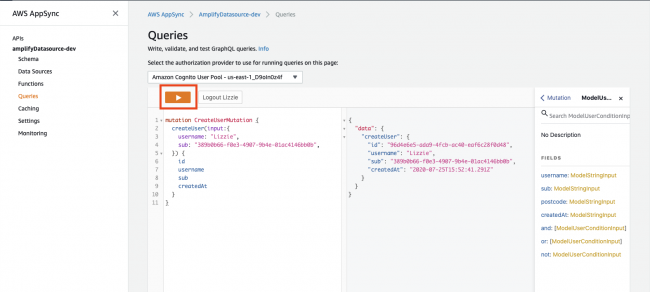 Creating a user in the GraphQL playground