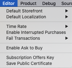 Editor menu shows StoreKit Configuration file options