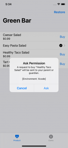 App showing Ask to Buy alert