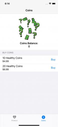 GreenBar app Coins view