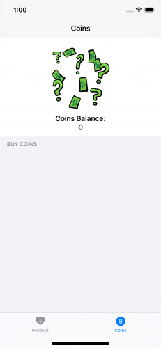 GreenBar app Coins tab
