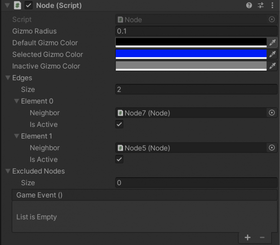 Node6 in the Inspector, showing Node5 and Node7 as Edges