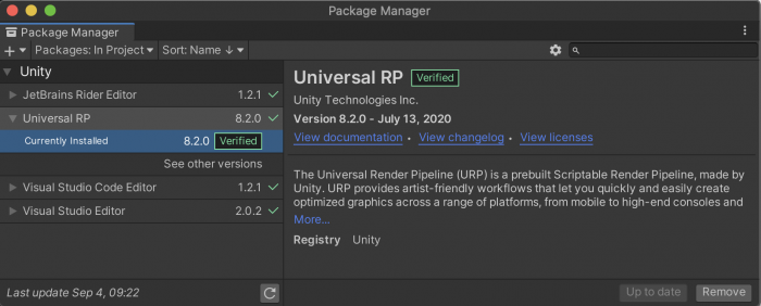 Pipeline settings showing the latest version of Universal RP