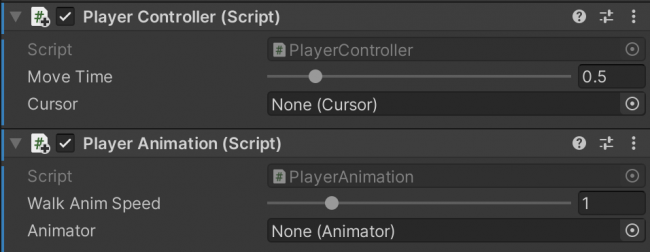 PlayerController and PlayerAnimation scripts