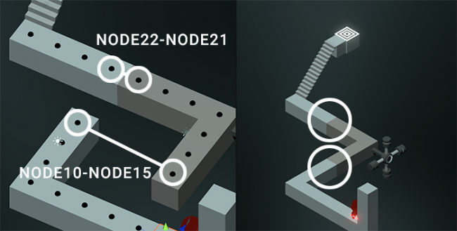 Impossible edges showing connections between nodes 10 and 15 and nodes 21 and 22