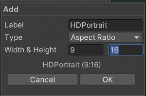 Add screen with HDPortrait as the Label, 9 for the Width and 16 for the Height