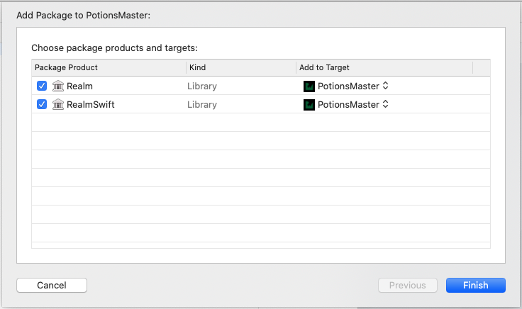 Xcode window with a list of targets to select