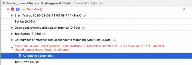 Test fail