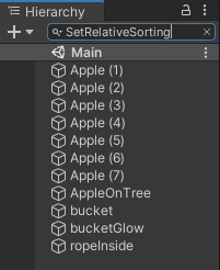 Hierarchy filtered for SetRelativeSorting component