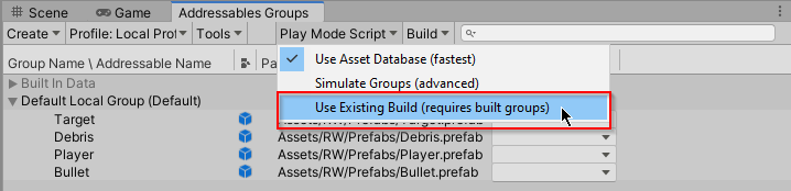 Changing the Play Mode Script to Use Existing Build