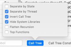 Time Profiler Call Tree Settings
