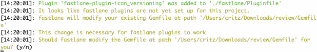 Prompt fastlane presents when adding a Pluginfile