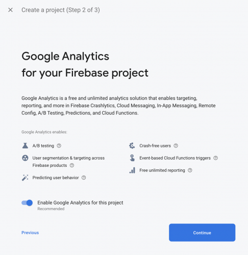 Google Analytics for your Firebase project