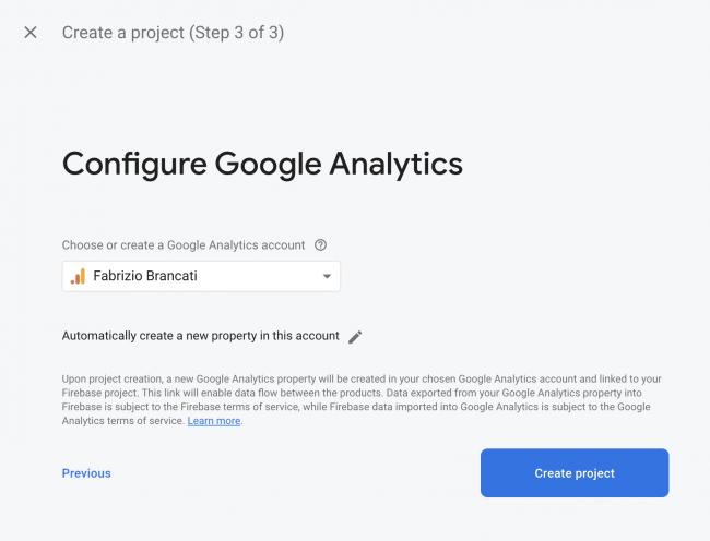 Configure Google Analytics screen