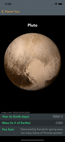 PlanetTour Pluto screen