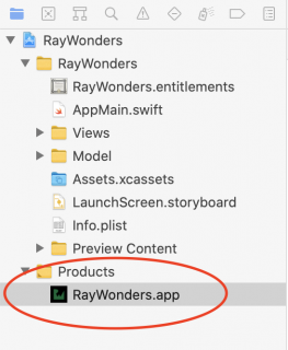 RayWonders in Project navigator