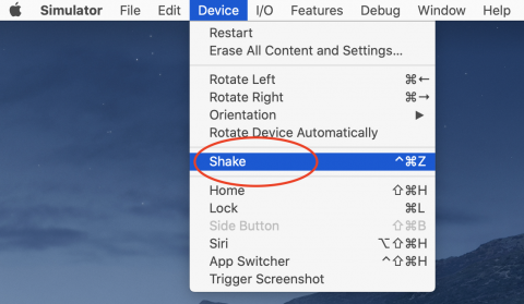 Shake menu option