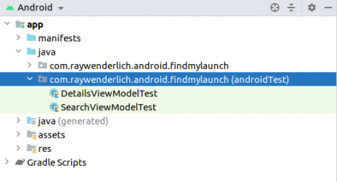 Directory tree showing the android-test source set