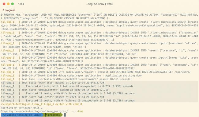 Result of running the tests in docker using `docker-compose`