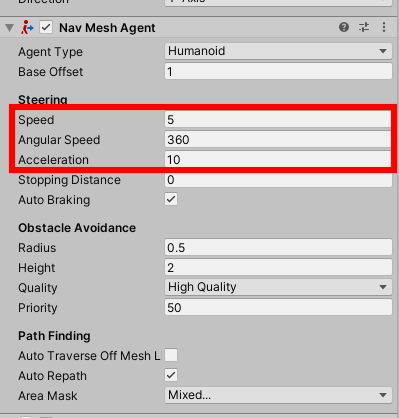 Steering settings in NavMeshAgent component