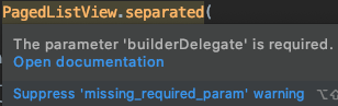 Android Studio warning about a missing required parameter.