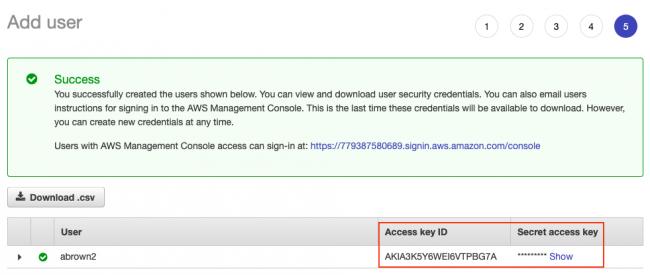 User API key and Secret