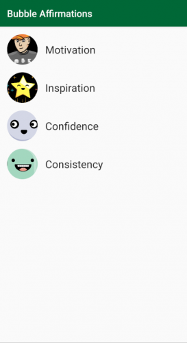 The starter app displaying a list of affirmational quote categories