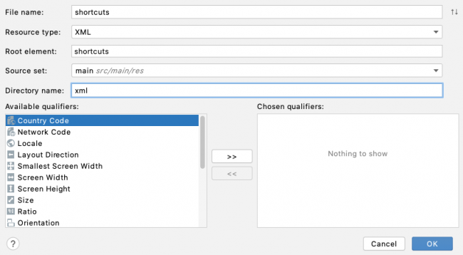 Adding a shortcuts.xml file with XML
