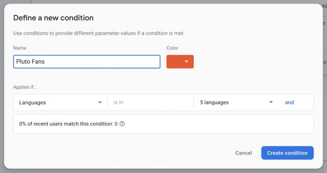 Define a new condition dialog box
