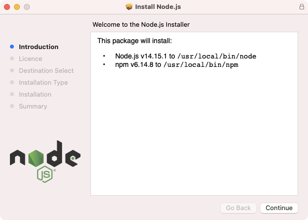 Initial step of Node.js installation