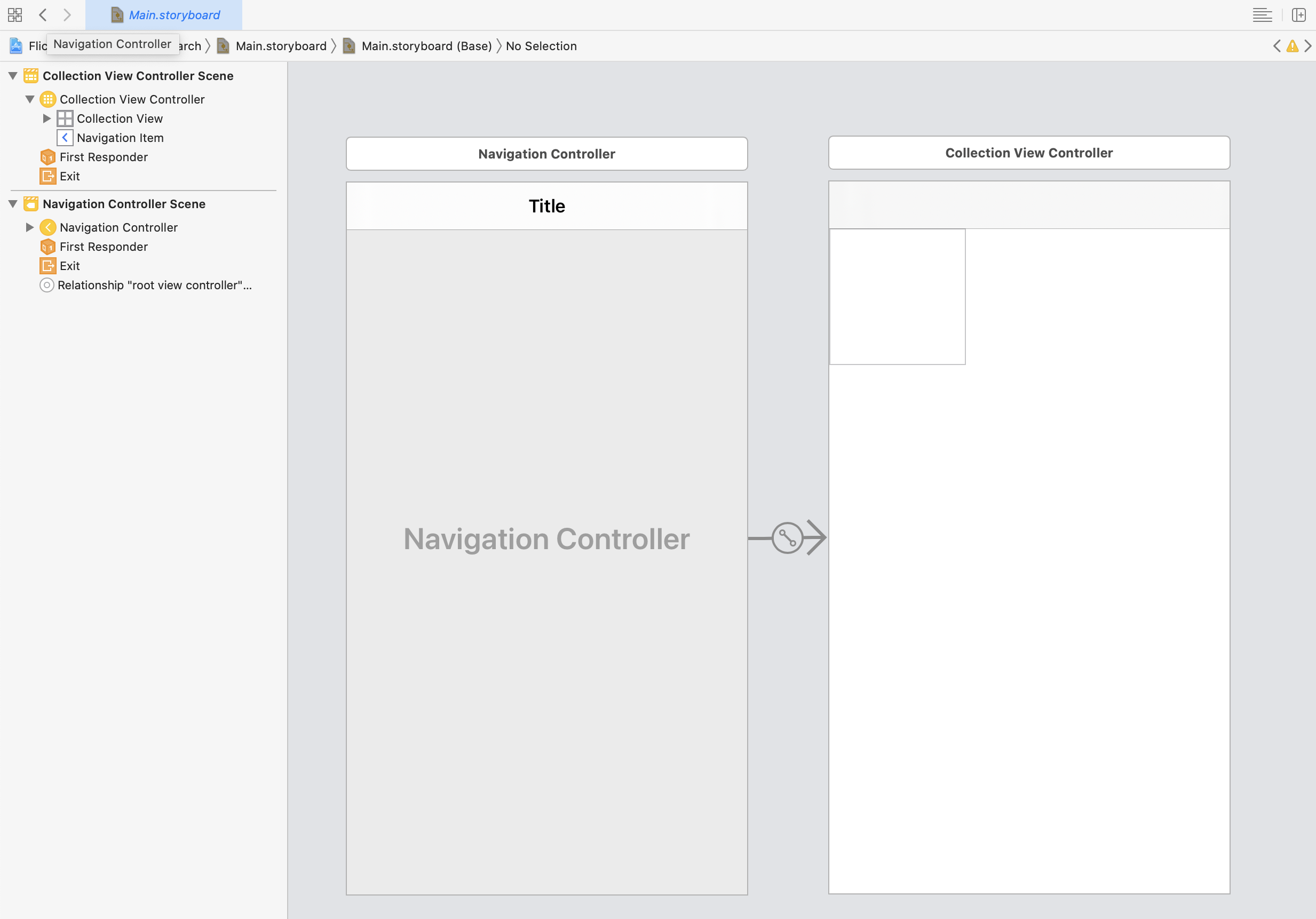 Storyboard with navigation controller and UICollectionViewController having a UICollectionView