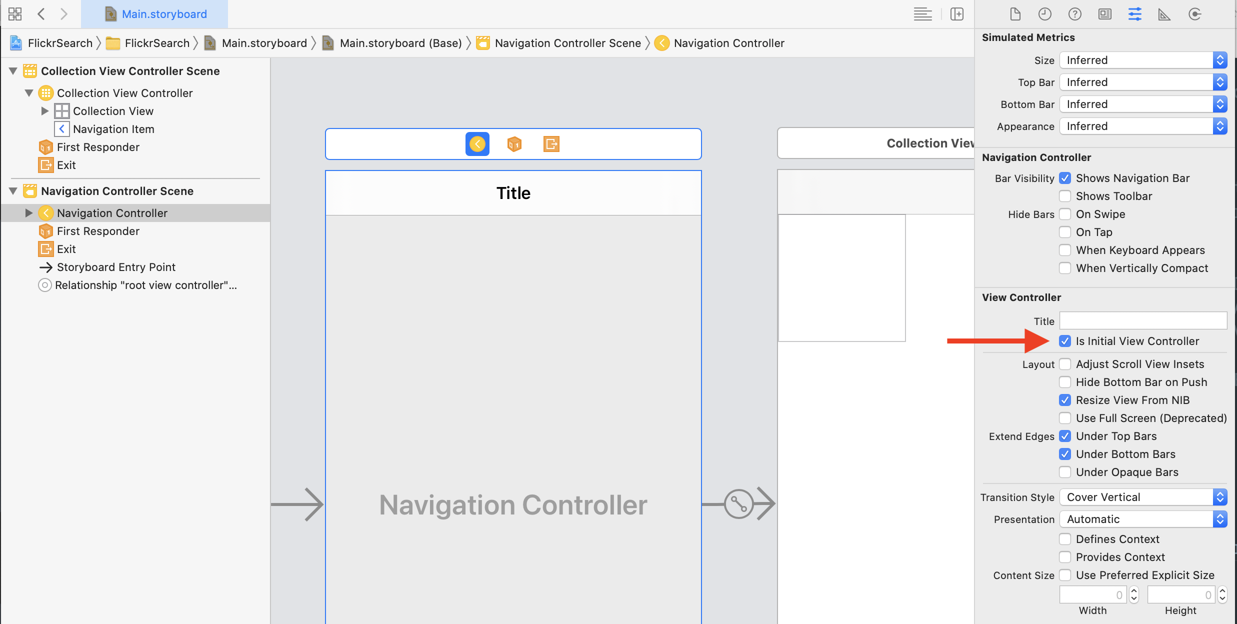 Setting UINavigationController as initial view controller
