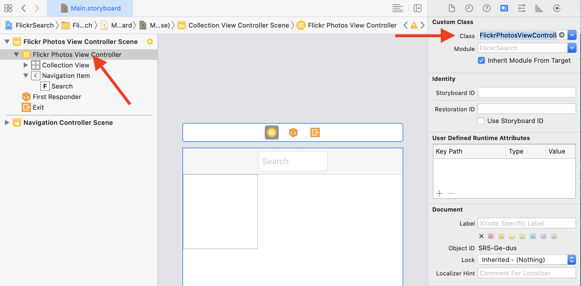 Set the UICollectionViewController subclass