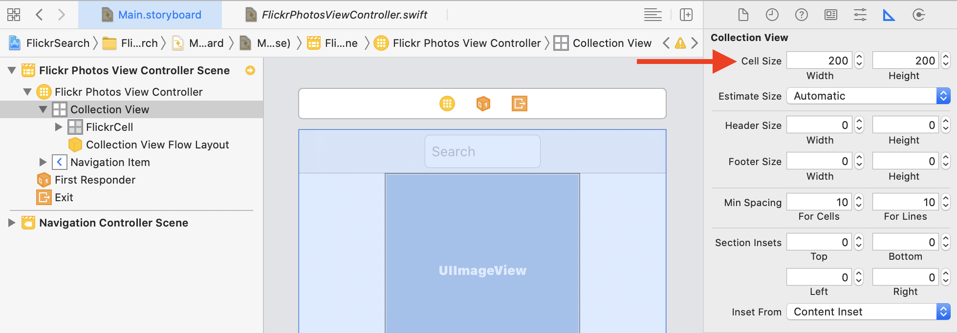 Changing the cell size of UICollectionView in the storyboard