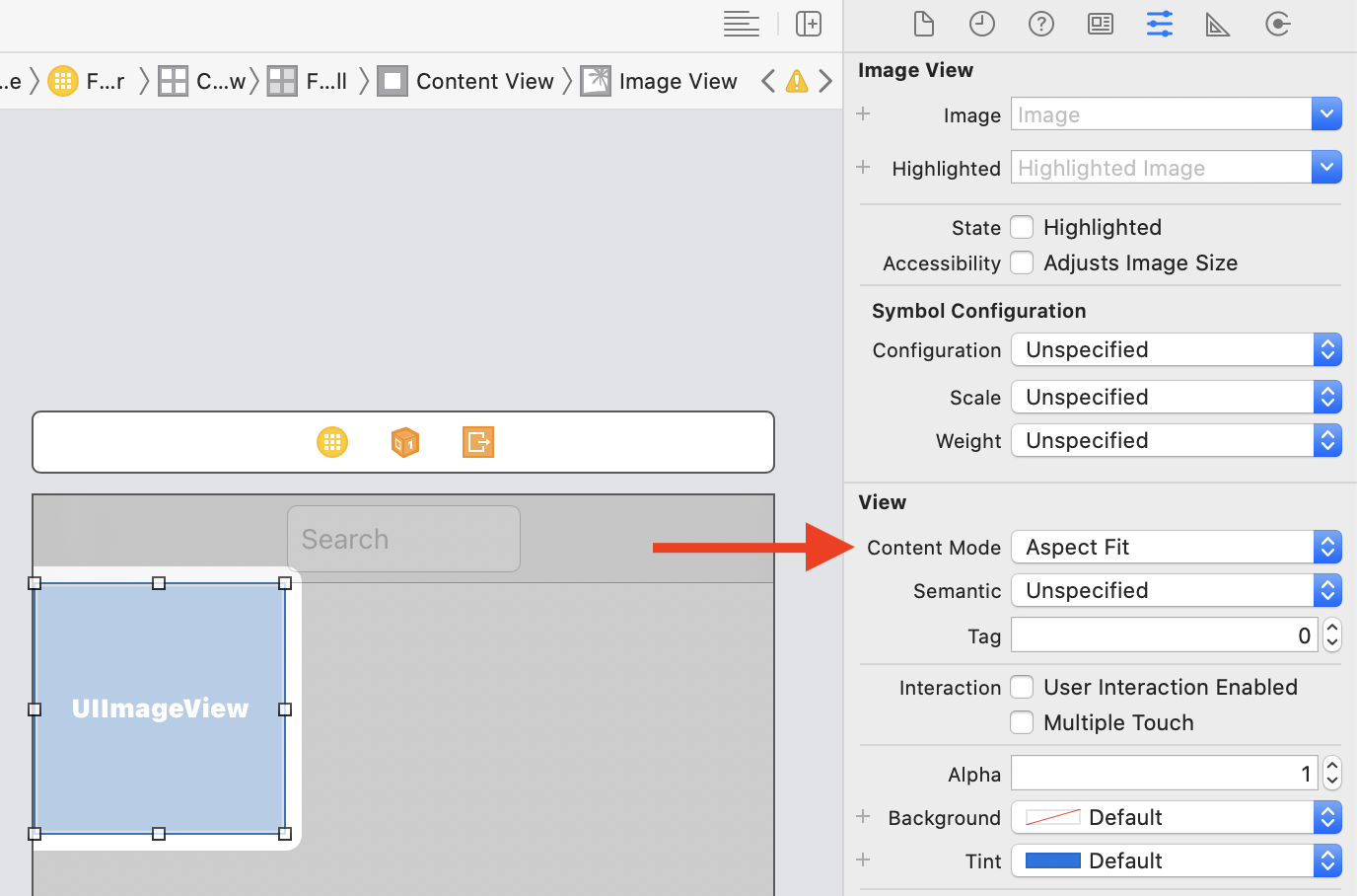 Setting the image view content mode to aspect fit