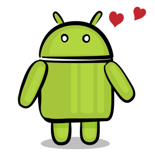 Happy android expressing joy with hearts.