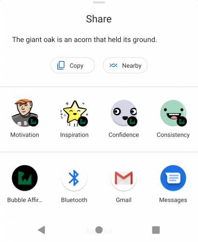 Direct Share sheet with conversation shortcuts and app icons