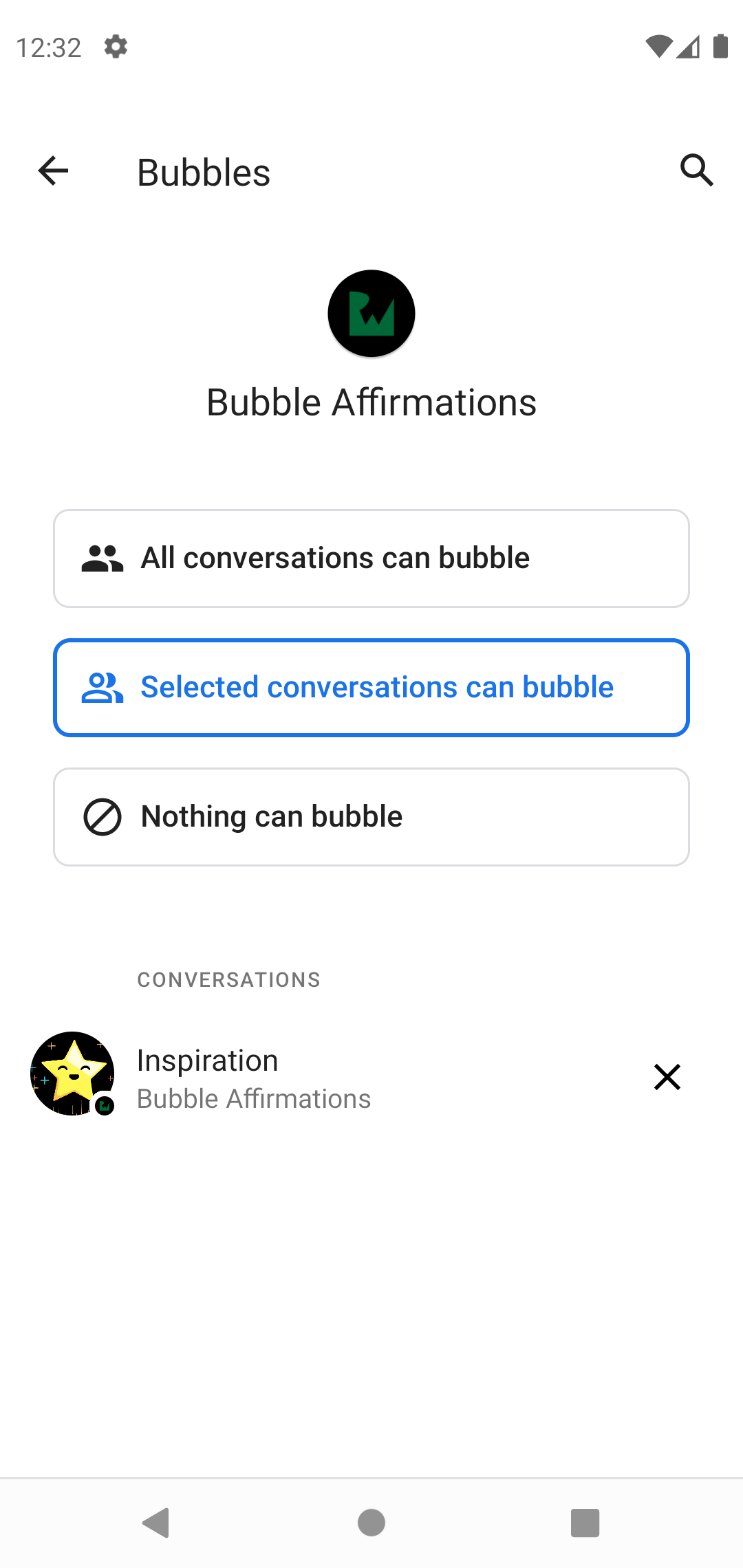 Notification settings for changing bubbles