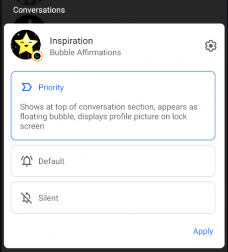Setting the notification as a priority.