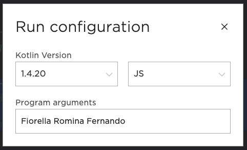 Run configuration screen with JS selected as the target platform
