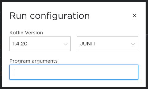 Configure settings screen with JUNIT as the target platform